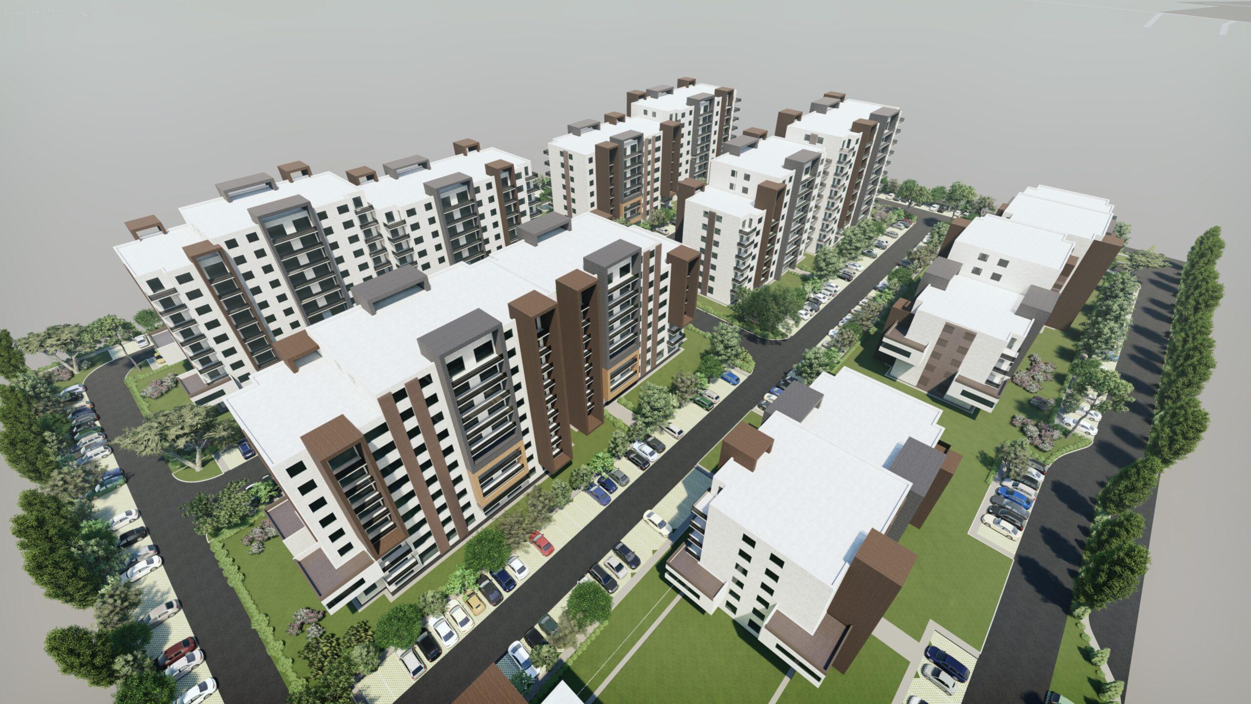 Construire amsamblu de clădiri cu functiuni mixte-locuințe colective, comer, servicii, având regim de înălțime variabil 2S+P+3E - 2S+P+9E+ER, amenajări peisagere, parcări, circulații pe lot, iluminat exterior, amplasare firme luminoase, împrejmuire, branșamente utilități, organizare de șantier