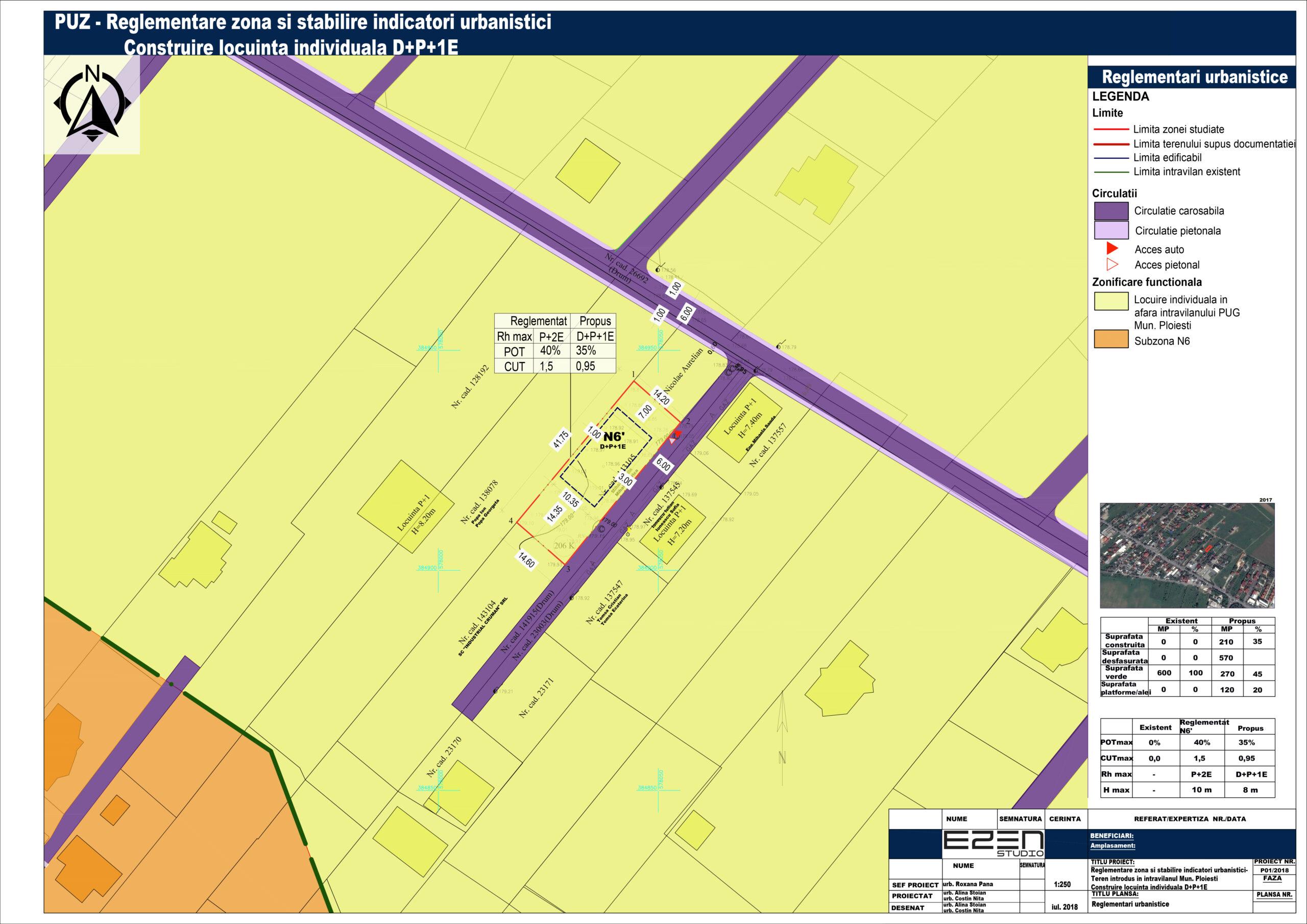 PUZ - Reglementare zonă și stabilire indicatori urbanistici - teren introdus în intravilanul Municipiului Ploiești - Construire Locuință individuală - Reglementări urbanistice