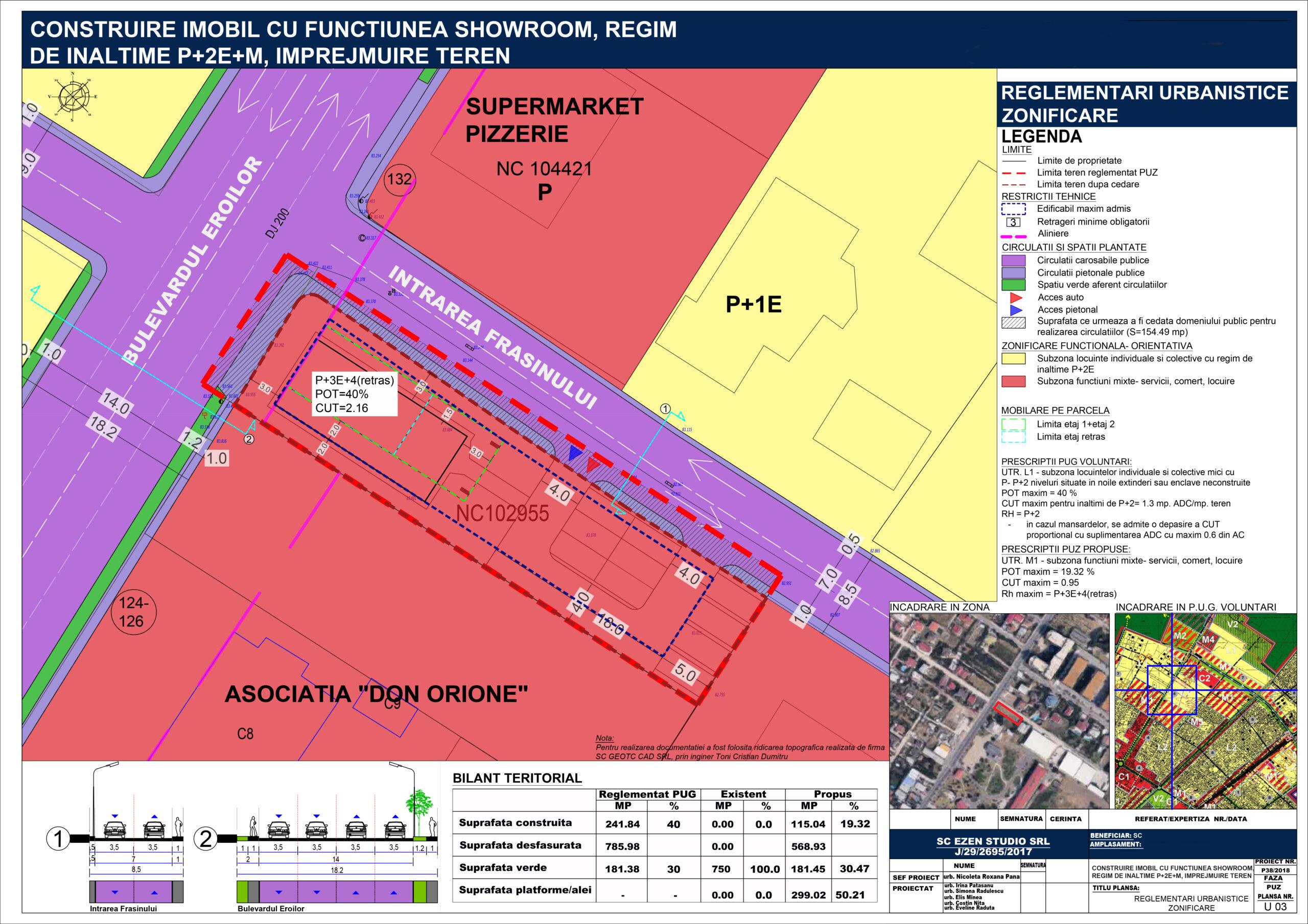 Continuare elaborare PUZ în vederea autorizării obiectivului de investiție - Construire imobil clădire cu regim de înălțime Ds+P+3E+ER, cu funcțiune mixtă (showroom, comerț, birouri, locuințe), împrejmuire teren, racorduri/branșamente, utilități - U03 -Reglementări urbanistice zonificare - A2