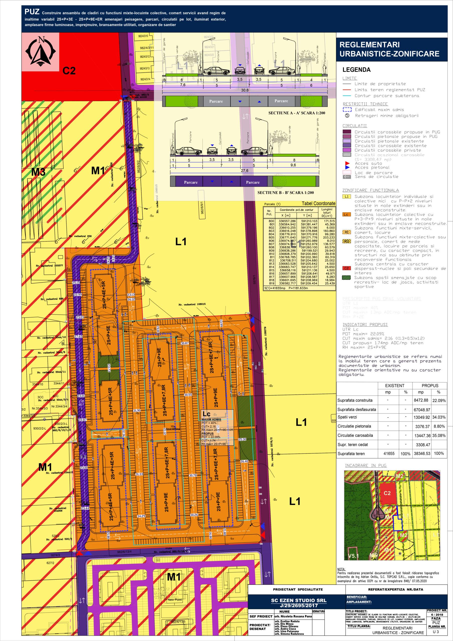 Construire amsamblu de clădiri cu functiuni mixte-locuințe colective, comer, servicii, având regim de înălțime variabil 2S+P+3E - 2S+P+9E+ER, amenajări peisagere, parcări, circulații pe lot, iluminat exterior, amplasare firme luminoase, împrejmuire, branșamente utilități, organizare de șantier - Reglementări urbanistice - zonificare