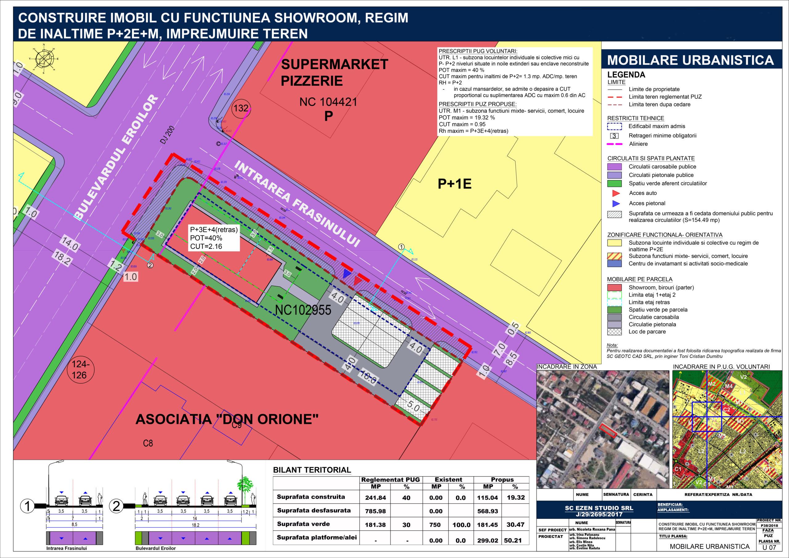 Continuare elaborare PUZ în vederea autorizării obiectivului de investiție - Construire imobil clădire cu regim de înălțime Ds+P+3E+ER, cu funcțiune mixtă (showroom, comerț, birouri, locuințe), împrejmuire teren, racorduri/branșamente, utilități - U07 -Mobilare urbanistică - A2